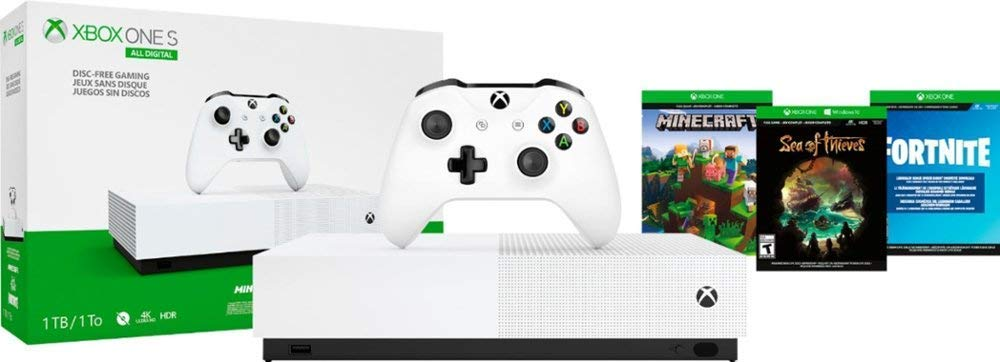 Xbox One S 1TB All-Digital Edition Bundle,Wireless Controller, Download Codes for Minecraft, Sea of Thieves and Fortnite Battle Royale, 3-Month Xbox Live Gold Card+3-Month Xbox Game Pass