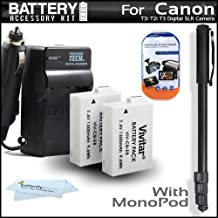 2 Pack Battery And Charger Kit For The Canon EOS Rebel T5i, T4i, T3i T2i Digital SLR Camera Includes 2 Extended (1500Mah) Replacement LP-E8 Batteries + AC/DC Charger + 67
