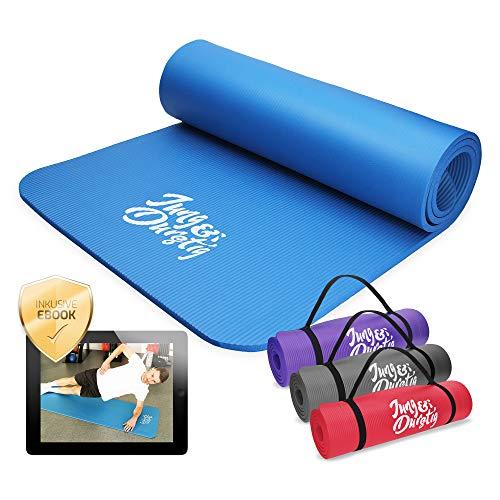 Jung & Durstig Yogamatte Gymnastikmatte Sportmatte Fitnessmatte rutschfest mit Tragegurt | 180 x 60 x 1 cm | Blau
