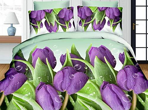 N/S Juego de Funda de Edredón, Flor Purpura3 Piezas Funda Nórdica Microfibra Juego de Cama Cremallera Funda de Almohada para el hogar1 x(140x200cm) + 2 x(50x75cm)