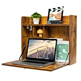 KZHOME Wall Mounted Table Multifunctional Folding Wall-Mounted Laptop Desk Writing Table with Storage Shelves for Home Office, Rustic Brown