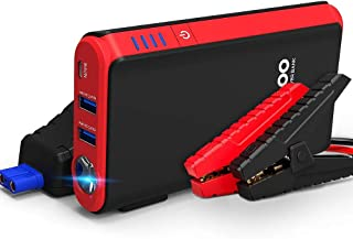 GOOLOO Quick Charge in & Out Port, 500A Peak SuperSafe Car Jump Starter (Up to 4.5L Gas) 12V Auto Battery Booster Charger Portable Power Pack, Built-in LED Flashlight, Black/Red