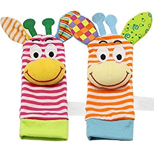 ZHANGNUO Sonajero para Bebé Juguetes Sonajero De Muñeca Y Calcetines De Pie Animal Cute Cartoon Baby Socks Sonajero Toys Marrón