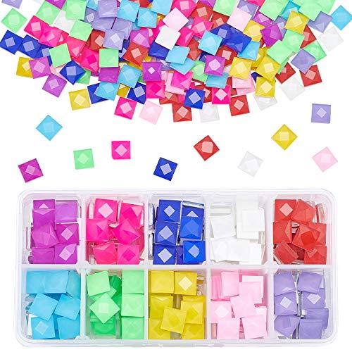 PandaHall Azulejos Cuadrados de Mosaico facetados de 10 Colores, 300 Piezas de Mosaico a Granel para Manualidades, Mosaico, Piezas de Vidrio, Azulejos con Pinzas para Marcos de Fotos, Platos, macetas