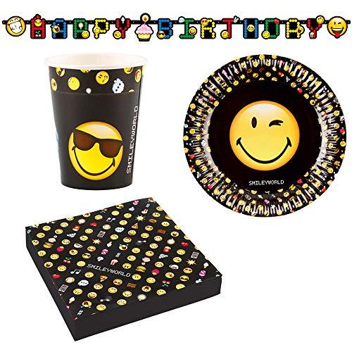Miss Lovely 37 delen party-decoratieset tafel-decoratieve Ration Emoji Smiliey 37 delen - verjaardags-decoratie-ratie jongens-meisjes vrouw & man servetten beker borden slinger