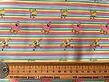 CraftsFabrics - Sponge Bob Rainbow Stripe Baumwollstoff,