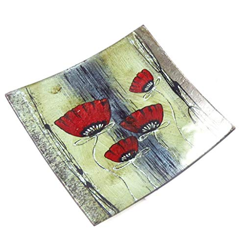 Les Trésors De Lily [K1264 - Plat Plateau Verre 'Coquelicots' Rouge Gris - 19 cm (Peint Main)