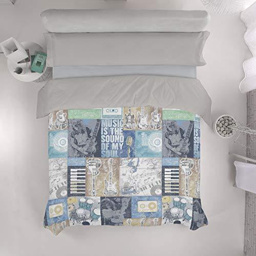 VISTIENDOHOGAR - Juego de Funda nórdica Rock & Roll - Cama de 90 (3 Piezas) - Impresión Digital - 50% algodón - 50% poliéster - 144 Hilos