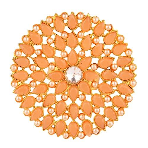 Efulgenz Joyería india antigua redonda imitación perla cristal Kundan Bollywood ajustable dedo grande anillo para mujeres, Cristal rhinestone, Sin gemas.,