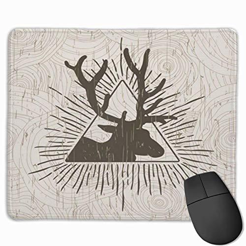 Nettes Gaming-Mauspad, Schreibtisch-Mauspad, kleine Mauspads für Laptop-Computer, abstraktes Dreieck der Mausmatte mit Hirsch- und Strahlen-Vektorpyramiden-Symbol-Logo
