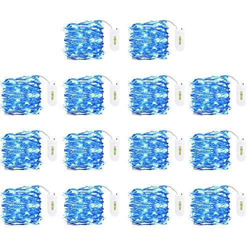 LEDGLE 20 LEDs Luci Stringa 2m/6.5ft Fili Rame Blu per Decorativi 14 Pezzi, per Natale/Parti/Camera/Costume Fare Decorazioni, a Batteria