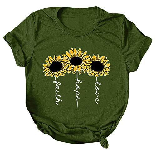 Tee Shirt t Shirt Damen T-Shirt Bluse Tops Frauen Casual Letter Printing Kurzarm O-Neck Loose (S,2grün)