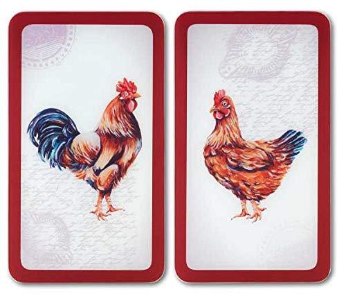 WENKO Plaque de protection en verre universel Ferme - set de 2, pour tous les types de cuisinières, Verre trempé, 30 x 1.8-5.5 x 52 cm, Multicolore