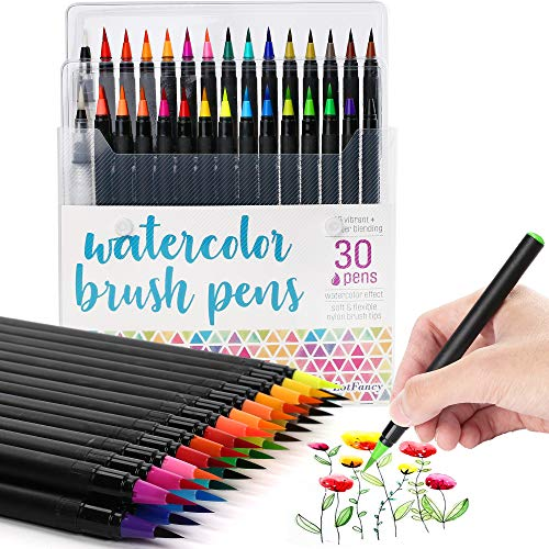 LotFancy Watercolor Brush Pens, Set of 28 Colors Watercolor Markers and 2 Refillable Water Pens, Flexible Real Brush Tips, Watercolor Paint Pens for Coloring, Calligraphy, Sketching, Doodling, Drawing