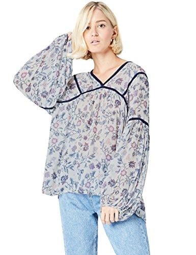 Preisvergleich Produktbild Amazon-Marke: find. Damen Bluse,  Mehrfarbig (Blue),  36,  Label: S