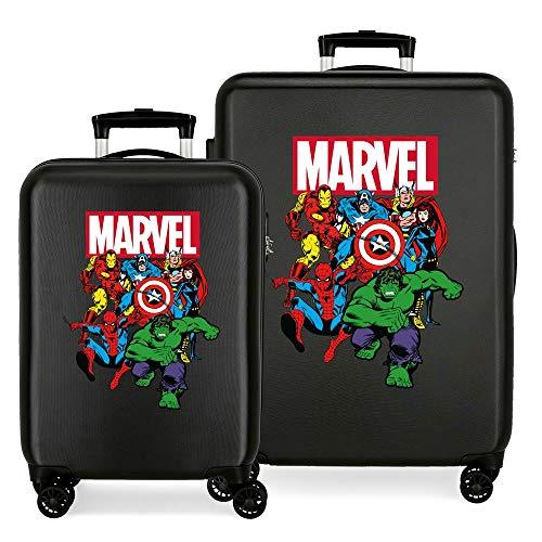 Marvel Los Vengadores Sky Avengers Juego de maletas Negro 55/68 cms Rígida ABS Cierre combinación 104L 4 Ruedas Dobles Equipaje de Mano