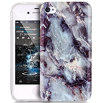 iPhone 4S Case,iPhone 4 Case,ikasus iPhone 4 / 4S case Marble,Glossy Marble Texture Ultra Slim Thin Flexible Soft Silicone TPU Bumper Rubber Protective Case Cover for iPhone 4S / 4 - Black Gray