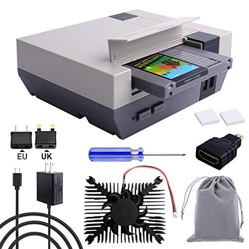 owootecc RETROFLAG NESPi 4 Case, Raspberry Pi 4 Case with SSD CASE, USB-C Power Supply with UK/EU Plug, HDMI Splitter Switch & Cooling Fan & Heatsinks for Raspberry Pi 4 Model B