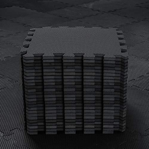 Alfombra Puzzle para Niños Bebe Infantil - Suelo de Goma EVA Suave. 25 Piezas (30 * 30 * 1cm), Negro. QQC-Db25N