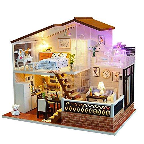 Joojun Casas de muñecas, Kit de Modelo de casa de Bricolaje, Villa de Dos Pisos Casa de...
