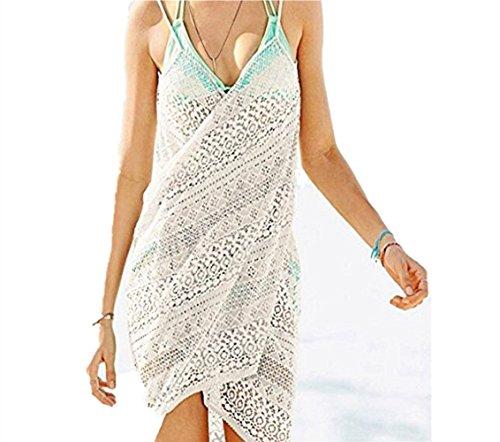 Mujeres Pareos Encaje de Punto Playa Protector Solar Vestido Traje De Baño Bikini Cubierta hasta Ropa De Playa (Blanco)