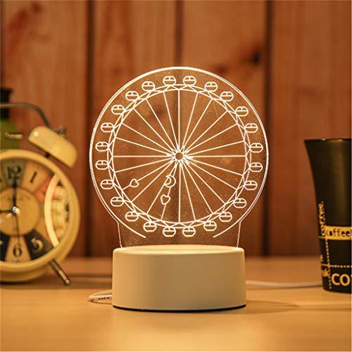 SADASD Lumière de nuit 3d créative led lampe de table créative acrylique lumière de bande dessinée, grande roue