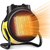 KHXJYC Calentador De 2000w, Calentador Vertical PequeñO con Cabezal Oscilante Retardante De Llama, Calentador EléCtrico con FuncióN Impermeable Ip44, Calentador PortáTil,Amarillo