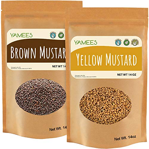 Yamees Yellow Mustard Seeds & Black Mustard - Bulk Spices and Seasoning - 28 Ounces (14 Ounce Bags)