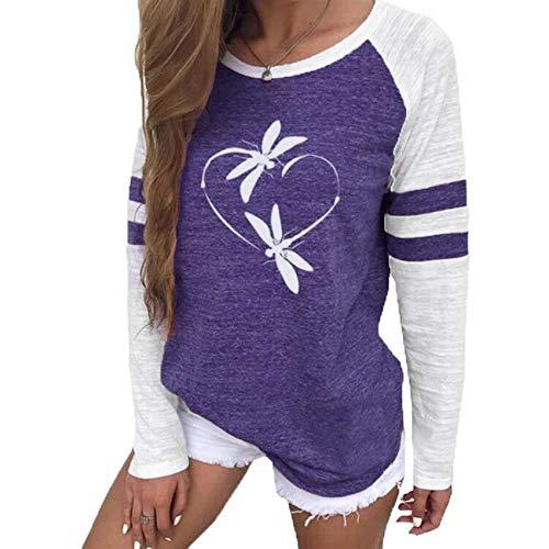 Camiseta con Estampado De LibéLula, Camisas De Manga Larga A Rayas para Mujer, Camisetas BáSicas Informales para Mujer, Camiseta para Mujer