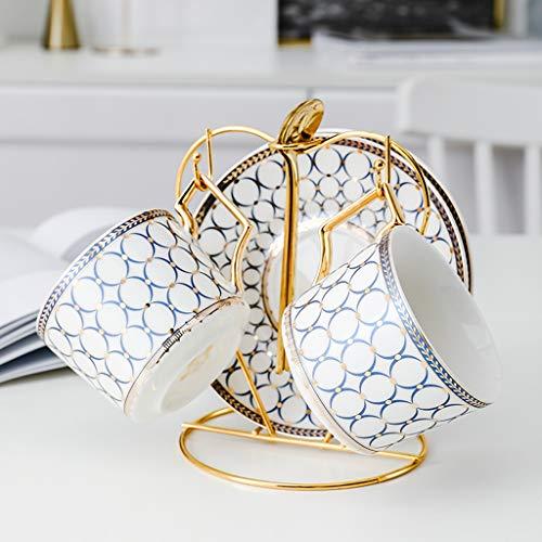 CJTMY Juego de té de cerámica Pote Hervidor de Calor Resistente al Calor Bouilloire Teepot Tazas de café Tazas Tazas Gold Handle
