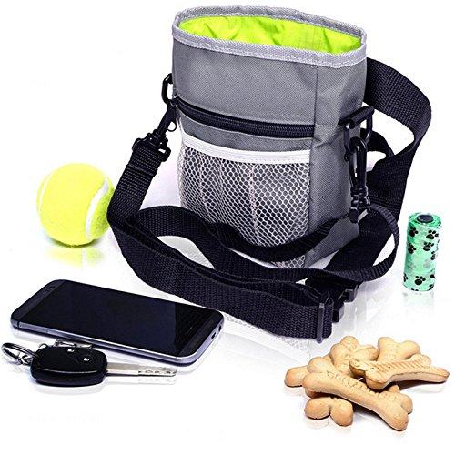 Amacoam Futterbeutel für Hunde, Hundefutter Taschen Hund Rucksack, Praktischer Leckerlibeutel mit integriertem Hundkotbeutel Spender für Hundetraining und Spaziergänge, Hunde Zubehör
