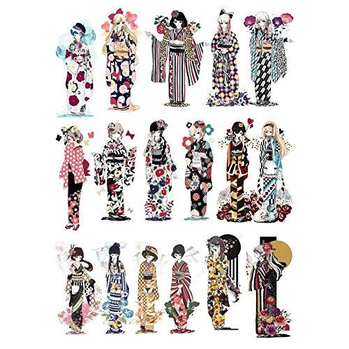 Vintage japanische Kimono Mädchen DIY Dekor Scrapbooking Bullet Journal Briefpapier Aufkleber Planer Album Papier Tagebuch Sticker2 Pcs
