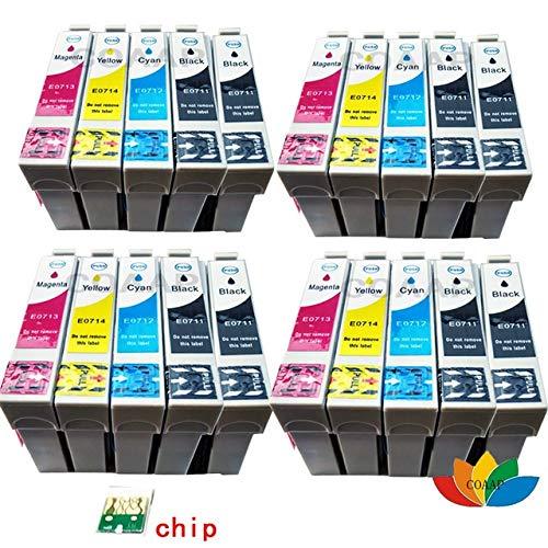 CHENTAOCS Ajuste for la Impresora Stylus D78 SX110 SX215 SX218 SX400 SX405 SX410 SX415 SX405WiFi SX510W SX515W DX7400 DX8400 Cartucho T0711 T0715 for la Impresora (Color : 20PCS 8BK 4C 4M 4Y)
