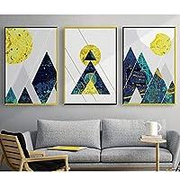 キャンバス絵画幾何学的な線抽象的なマウンテンブルーポスター印刷壁アート写真リビングルームホームオフィスの装飾40x60cmx3フレームレス