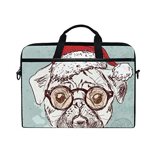 EZIOLY Vintage Hipster Santa Pug Dog Laptop Shoulder Messenger Bag Case Sleeve for 13 Inch to 14 inch Laptop