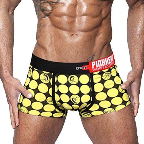 Calzoncillos amarillos para hombre con cuadros negros