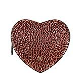 Maxwell Scott® Hermoso neceser castaña para bolso en forma de corazón en cuero Italiano con grabado tipo croco...