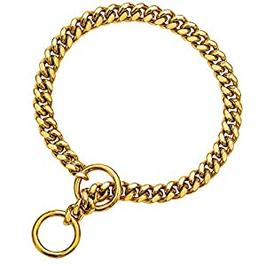 txprodogchains 18K Gold Chain Dog Collar 10MM Cuban Link Chain Stainless Steel Metal Links Walking Training Collar for Small Medium Large Dogs (24″)
