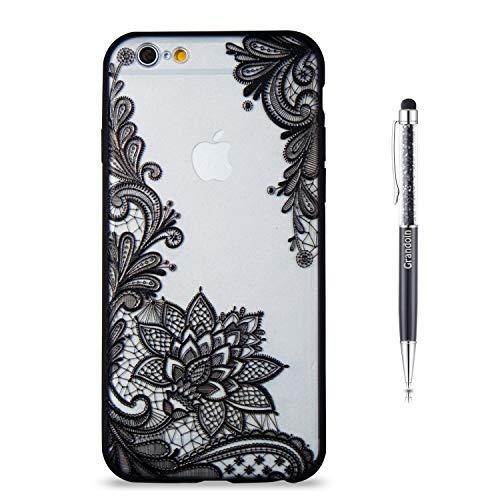 """Grandoin Coque iPhone 6S/6 Plus, 2 en 1 Ultra Mince Coque Transparente Silicone Gel TPU Souple avec Cute Motif Dessin Mignon Imprimé, Housse Etui pour Apple iPhone 6S /6 Plus 5.5"""" (Lotus Noir)"""