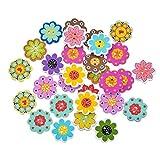 nJiaMe Forma de la Flor Botones 50Pcs Mezcla de Costura de Madera bebé de los Botones Bufanda Ropa Botones Decorativos DIY Crafts Accesorio de Vestir