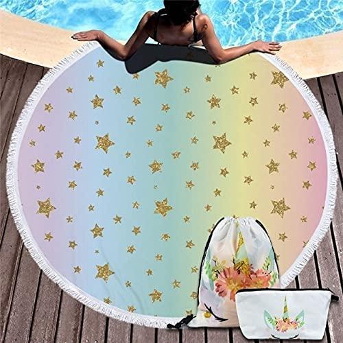 IAMZHL Toalla De Playa Redonda Borla Manta Grande Estera De Yoga De Picnic Toallas De baño De Viaje para natación para Adultos Toalla De Playa-Towel and Bag 7