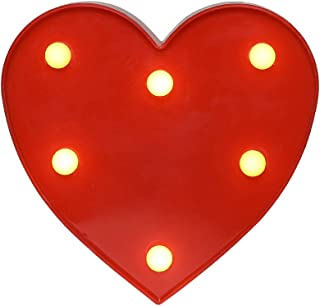 Akana Led Marquee Letter Lights Sign,Led Letter Lights Up Warm White Letter Light, Battery Operated Night Lights for Confession Wedding Party Birthday Christmas Home Bar Decoration(Heart-Red)