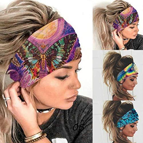 Sethexy Boho, diademas anchas, para yoga, para el pelo, elásticas, antideslizantes, 3 unidades, estilo turbante para la cabeza, bufandas para la cabeza, para correr, deportes, para mujeres y niñas