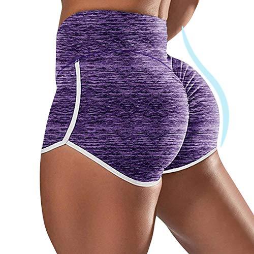 Vertvie Damen Sportshort Kurz Leggings Hohe Taille mit Bauchkontrolle Short Hotpants Fitness Shorts Kurze Leggings Yogahose Sporthose Fitnesshose Jogginghose(S, A-lila)