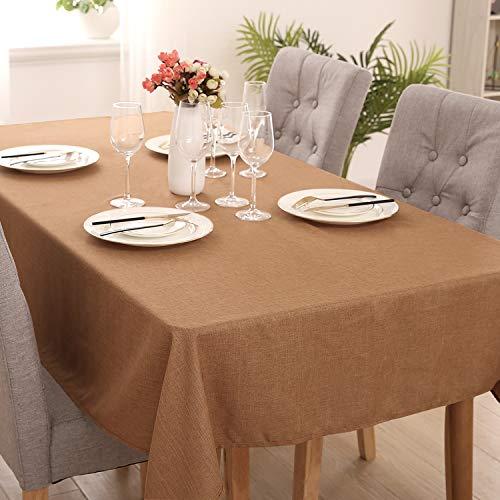 Deconovo Manteles Mesa Rectangular Efecto Lino para Comedor Cocina Salón Restaurante 140 x 200 cm Amarillo