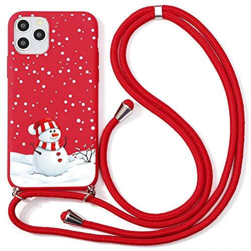 Yoedge Funda con Cuerda para Apple iPhone 13 Pro-6,1 , Funda de Silicona AntiChoque Suave TPU para Teléfono Móvil con Colgante Ajustable Collar Correa para el Cuello Cadena Cuerda, Monigote Nieve