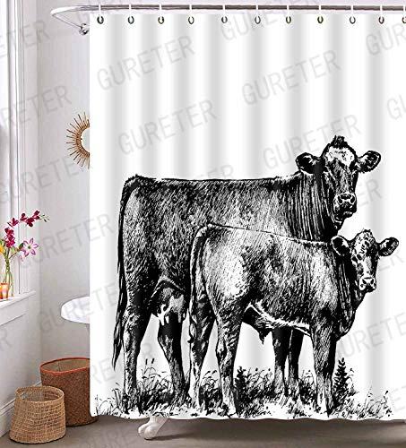 YLLSGE54 Duschvorhang, Kuh, Tiermotiv, wasserdicht, mit 12 Haken, 183 x 183 cm