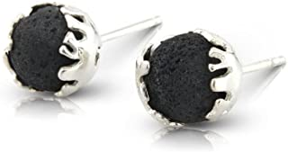 FOLD Stud Earrings in Lava and Sterling Silver