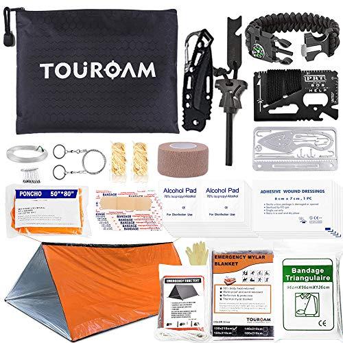 TOUROAM Outdoor Erste-Hilfe-Überlebenskit für Abenteuercamping Wandern Angeln - Trauma-Notfalltasche und Überlebensausrüstung 62 IN 1 für Frauen Männer SOS-Kit
