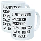 Pack of 2 - I survived another meeting that should have been an email - 11OZ ceramic coffee mugs - Best funny...